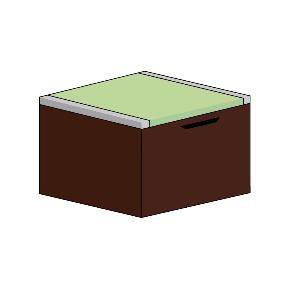 美草跳ね上げ式ユニット畳 畳単品 高さ45cm 大容量 ミニ半畳 大容量 (イ)本体ダークブラウン×畳ライトグリーン