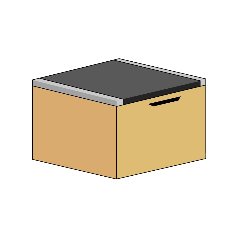美草跳ね上げ式ユニット畳 畳単品 高さ45cm 大容量 ミニ半畳 大容量 (ウ)本体ナチュラル×畳ブラック