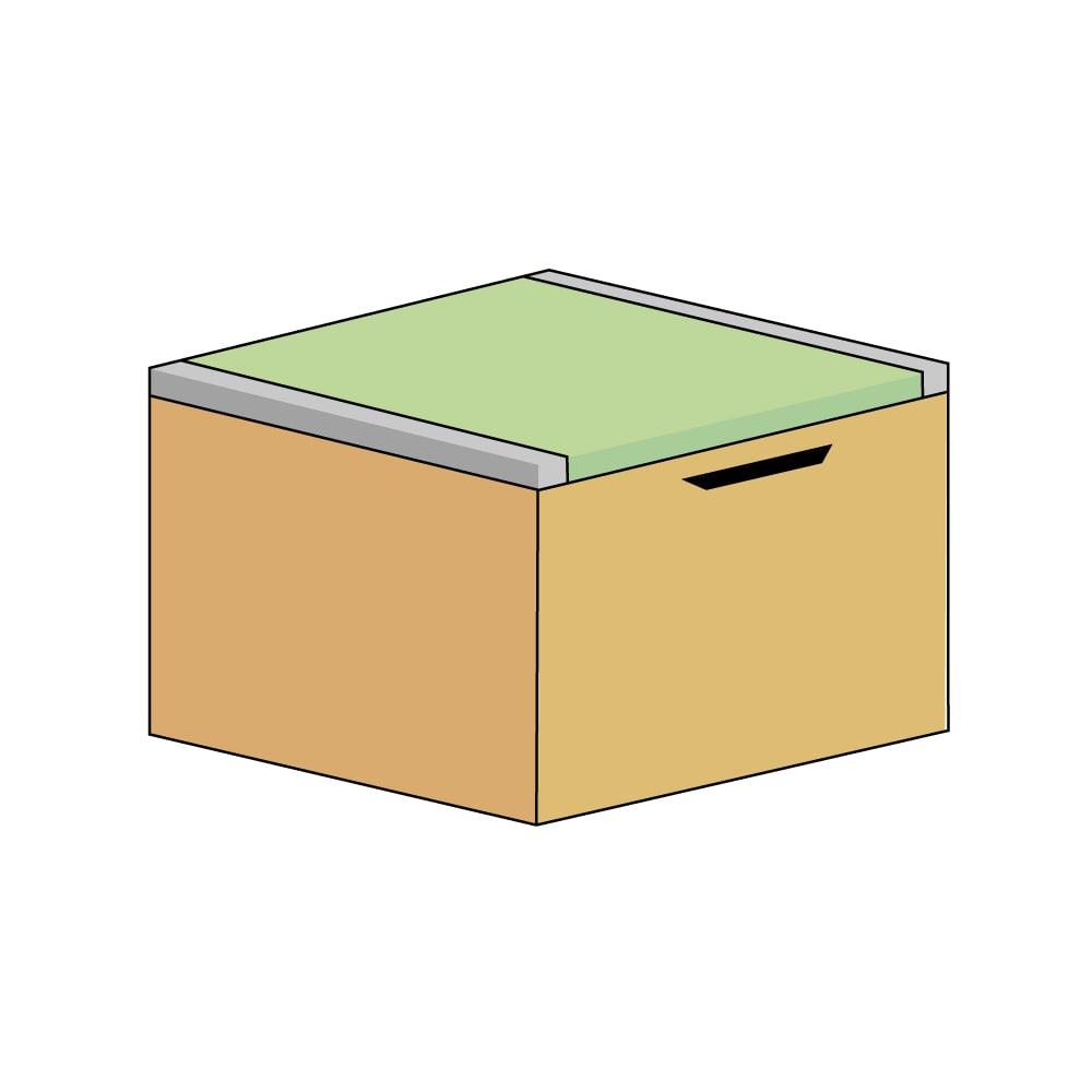 美草跳ね上げ式ユニット畳 畳単品 高さ45cm 大容量 ミニ半畳 大容量 (エ)本体ナチュラル×畳ライトグリーン