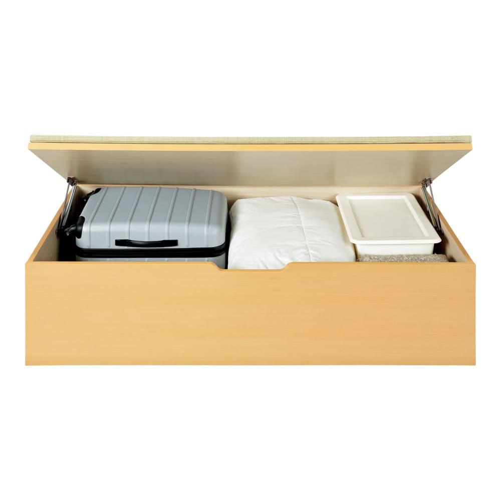 美草跳ね上げ式ユニット畳 畳単品 高さ45cm 大容量 ミニ半畳 大容量 高さ45cmタイプはスーツケース、収納ケースも収納可能。(収納部内寸高さ35cm)
