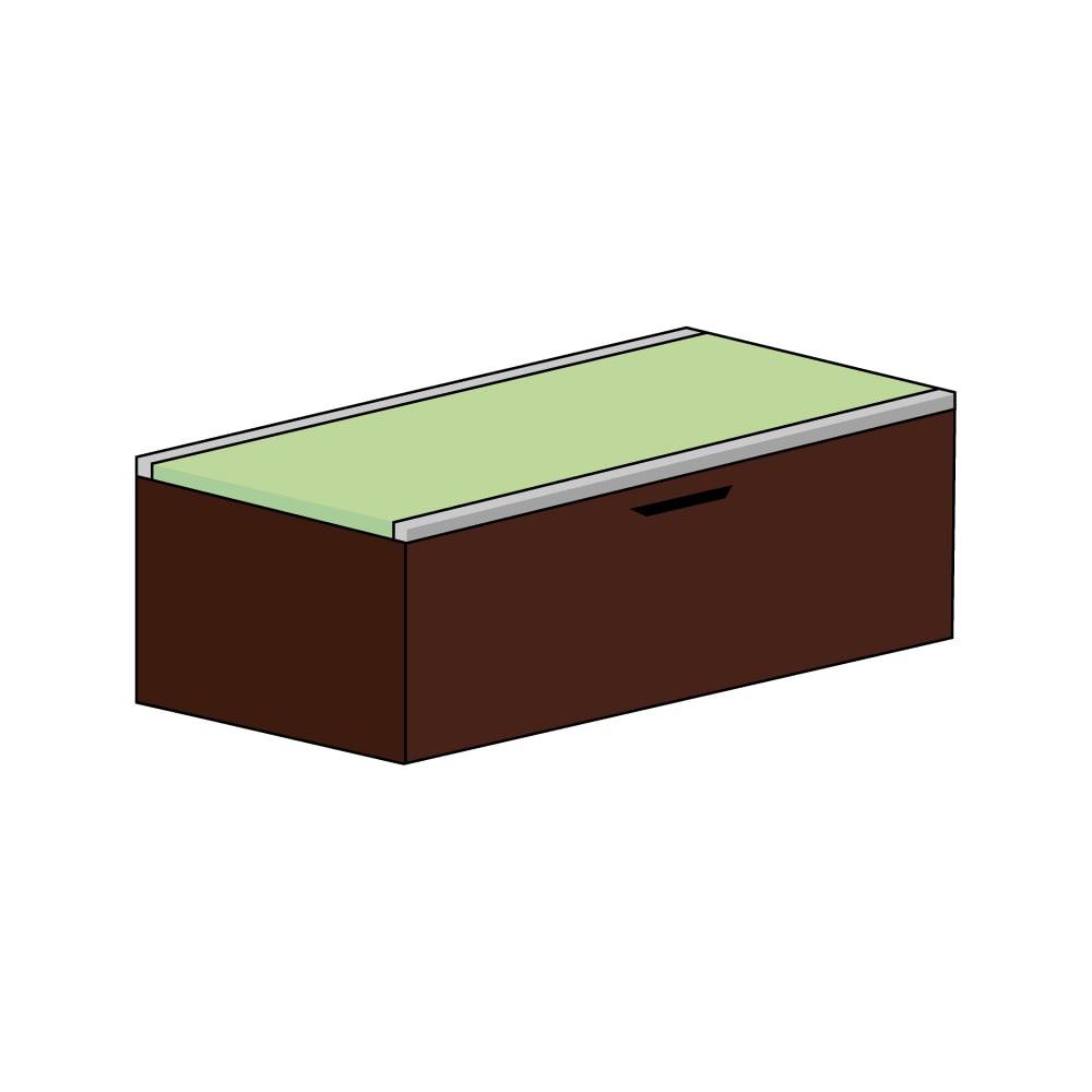 美草跳ね上げ式ユニット畳 畳単品 高さ45cm 大容量 ミニ1畳 大容量 (イ)本体ダークブラウン×畳ライトグリーン