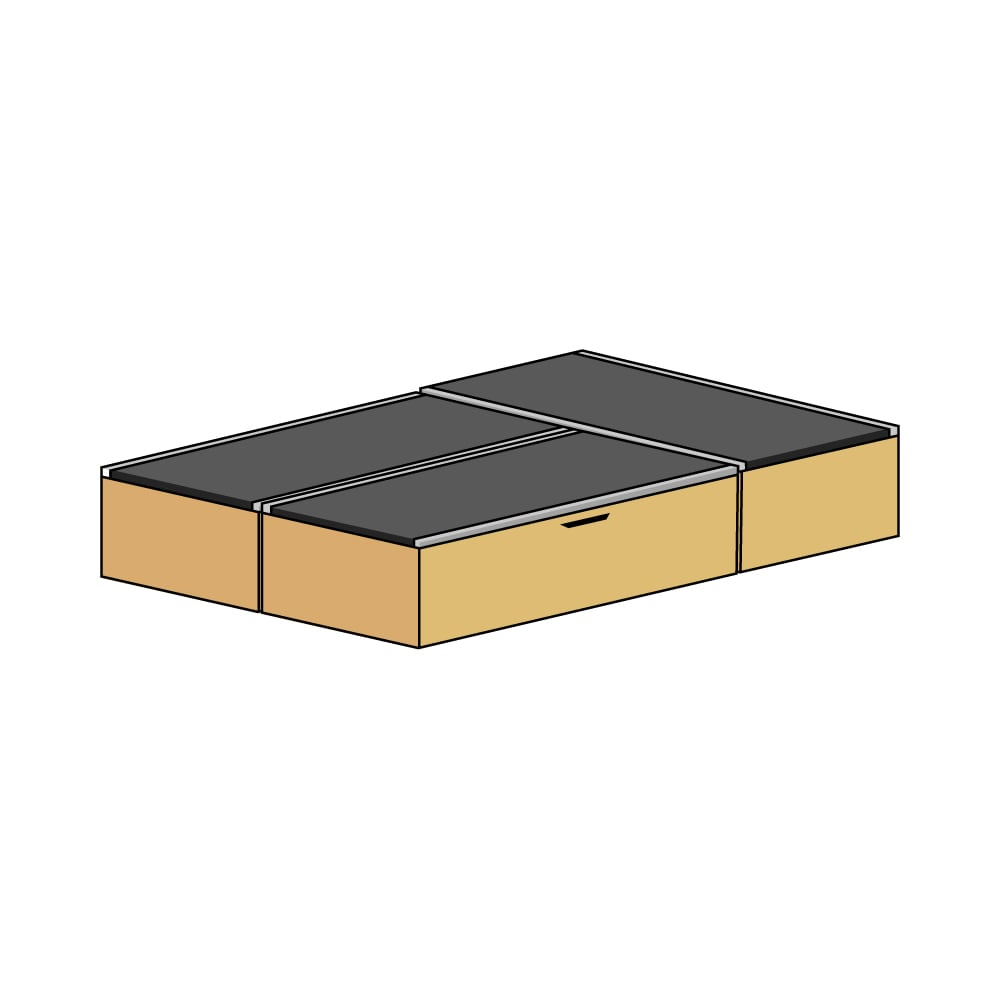 美草跳ね上げ式ユニット畳 お得なセット 高さ33cm ミニ3畳セット (ウ)本体ナチュラル×畳ブラック