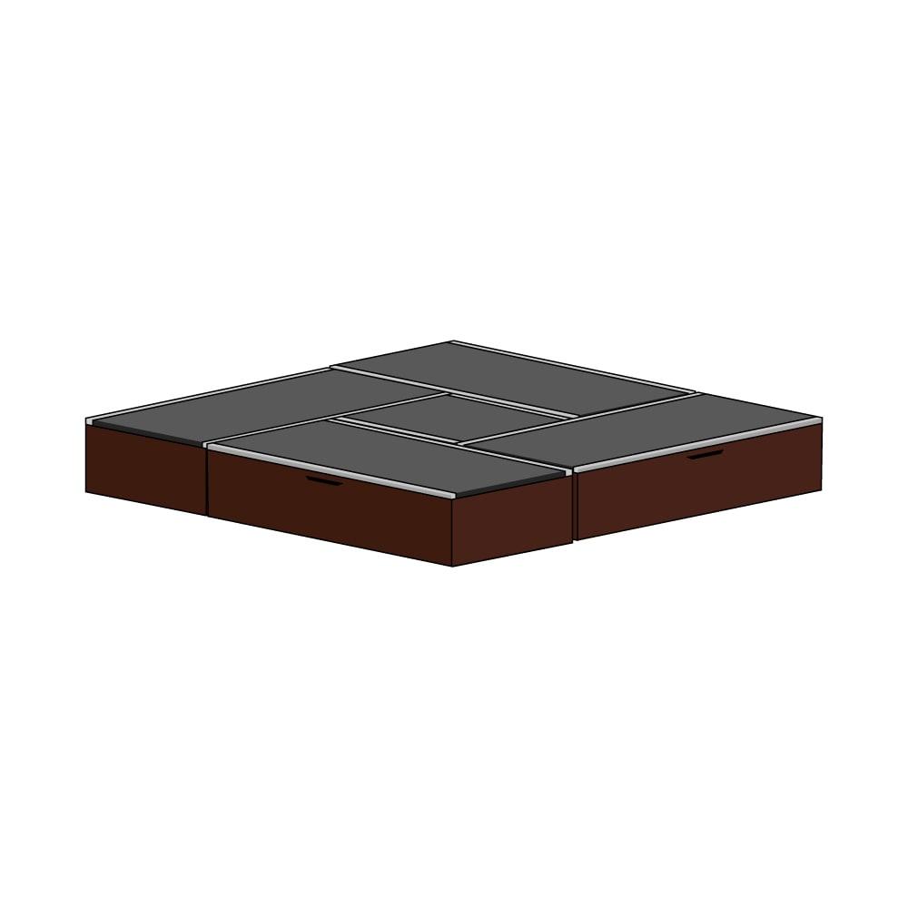 美草跳ね上げ式ユニット畳 お得なセット 高さ33cm 4.5畳セット (ア)本体ダークブラウン×畳ブラック