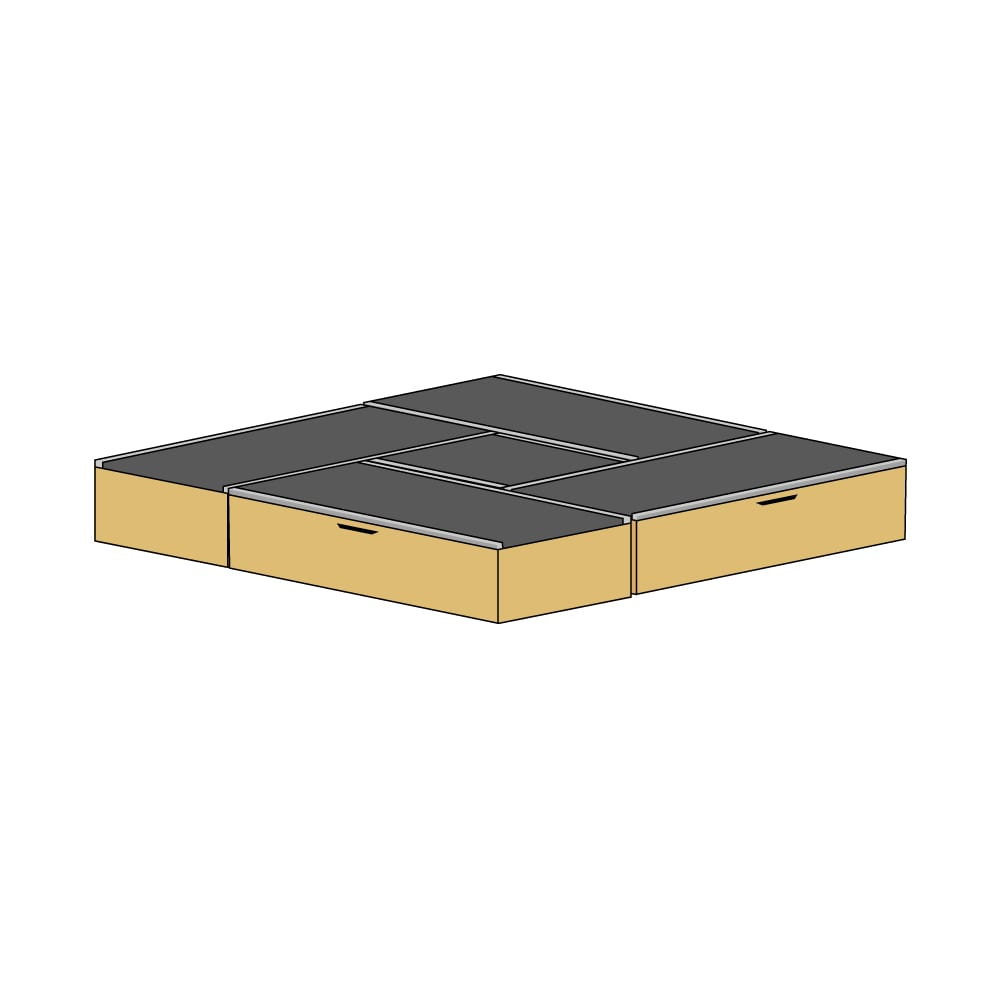 美草跳ね上げ式ユニット畳 お得なセット 高さ33cm 4.5畳セット (ウ)本体ナチュラル×畳ブラック