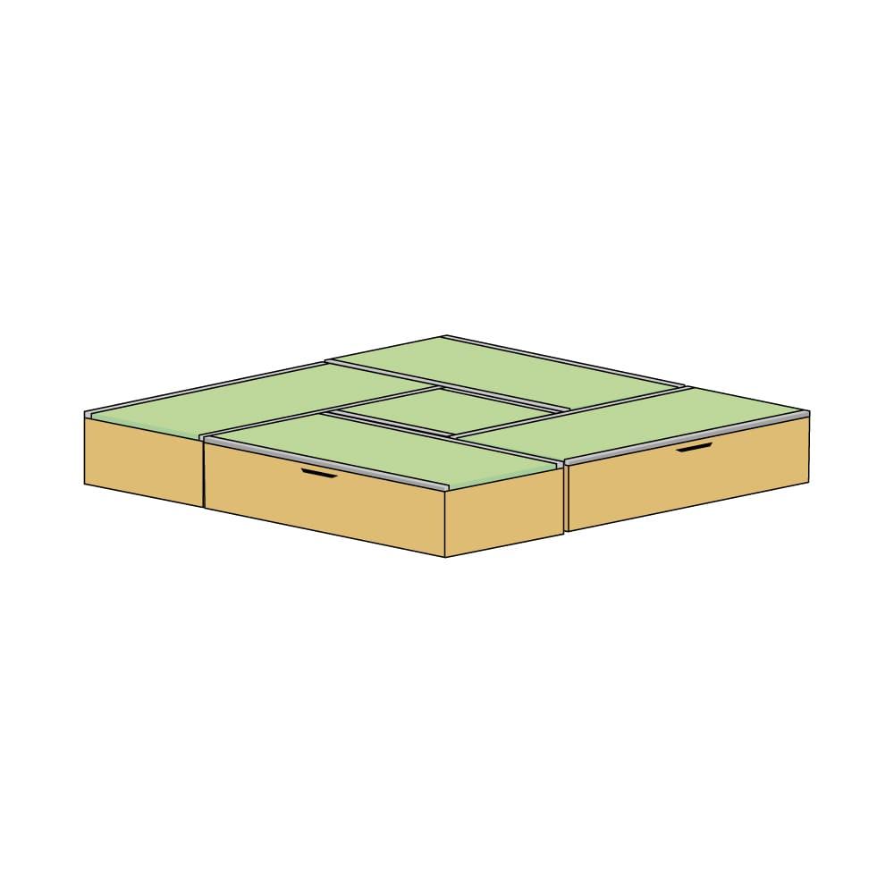 美草跳ね上げ式ユニット畳 お得なセット 高さ33cm 4.5畳セット (エ)本体ナチュラル×畳ライトグリーン