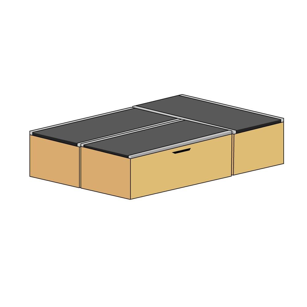 美草跳ね上げ式ユニット畳 お得なセット 高さ45cm 大容量 ミニ3畳セット 大容量 (イ)本体ダークブラウン×畳ライトグリーン