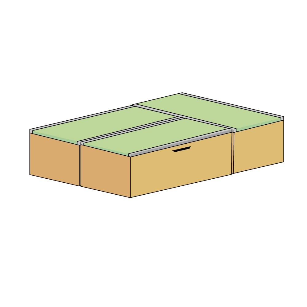 美草跳ね上げ式ユニット畳 お得なセット 高さ45cm 大容量 ミニ3畳セット 大容量 (ウ)本体ナチュラル×畳ブラック