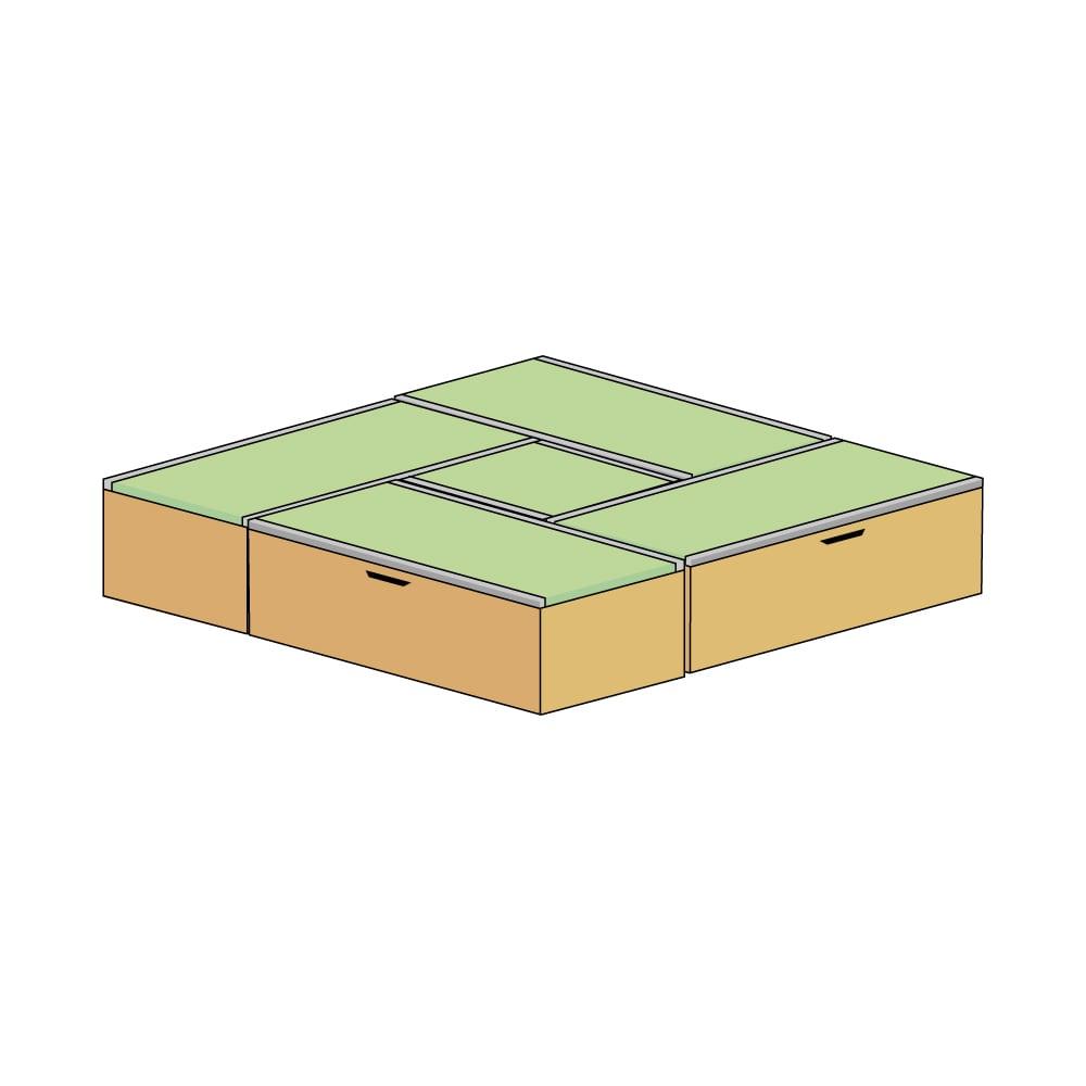 美草跳ね上げ式ユニット畳 お得なセット 高さ45cm 大容量 ミニ4.5畳セット 大容量 (エ)本体ナチュラル×畳ライトグリーン