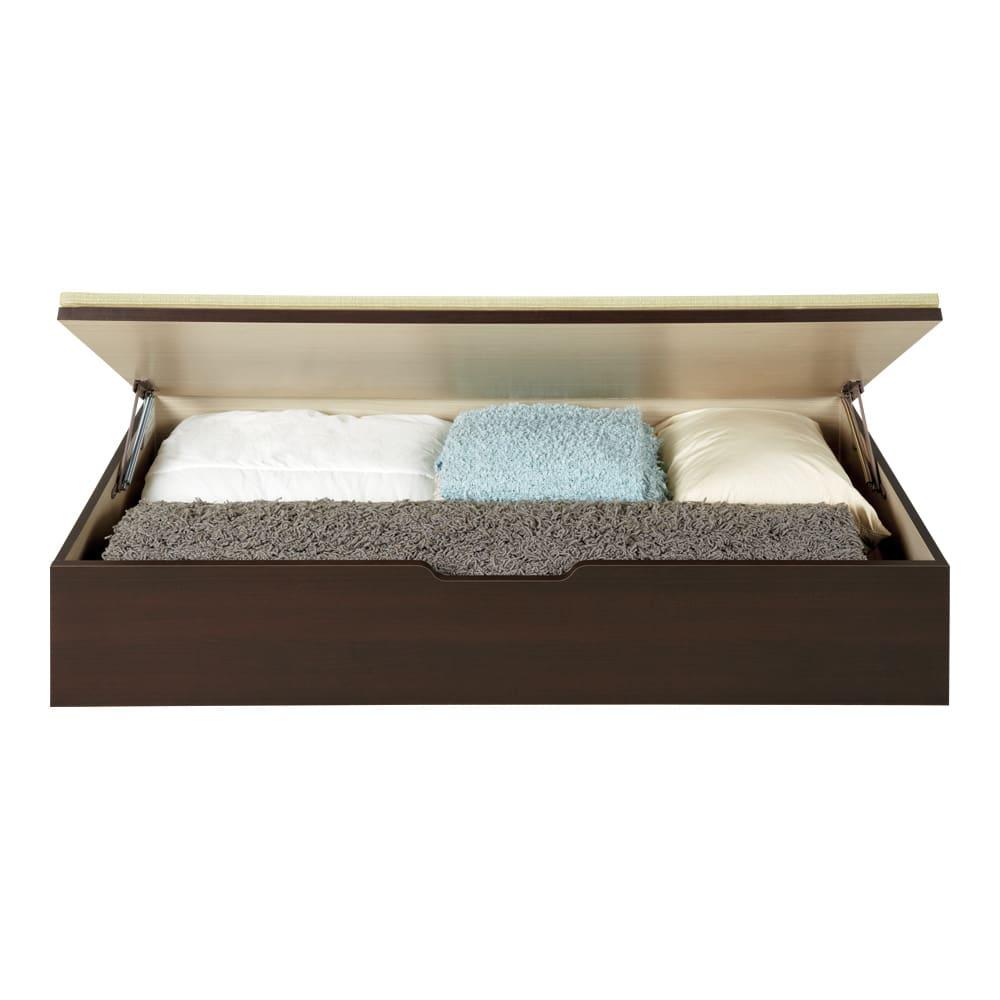 美草跳ね上げ式ユニット畳 お得なセット 高さ45cm 大容量 ミニ4.5畳セット 大容量 高さ33cmタイプは1畳分に布団やラグなどが収まります。(収納部内寸高さ25cm) ※お届けは高さ45cmタイプです。