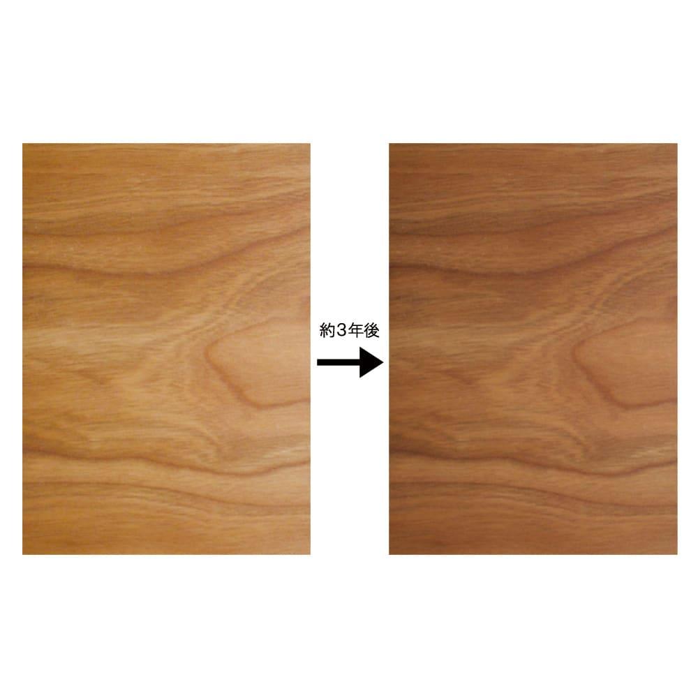 Blossom(ブロッサム) チェリー天然木北欧風シリーズ デスク 幅120cm 歴史を刻み、味わいを育むチェリー材特有の経年変化…表情豊かな木目と赤みを帯びた色合いは、時を経るたびに深みを増していきます。