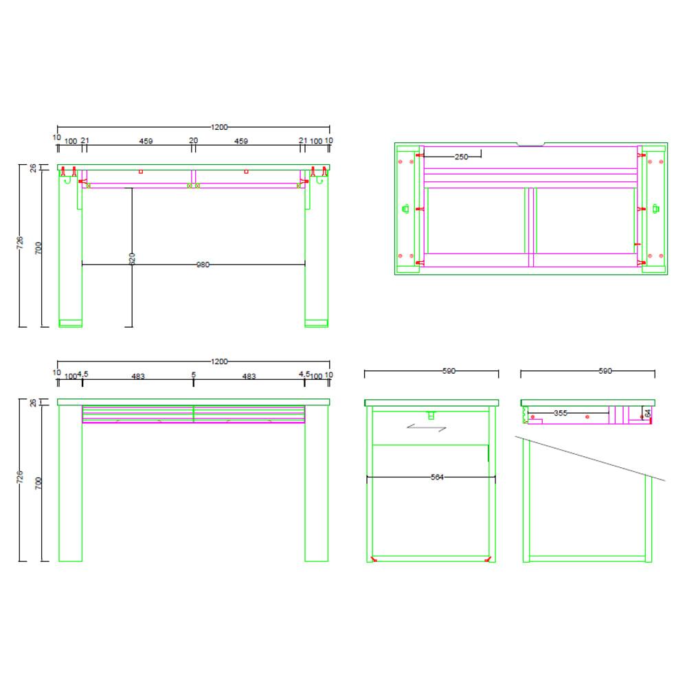 Gulf/ガルフ 格子デザインシリーズ デスク 幅120cm 内寸図(cm)