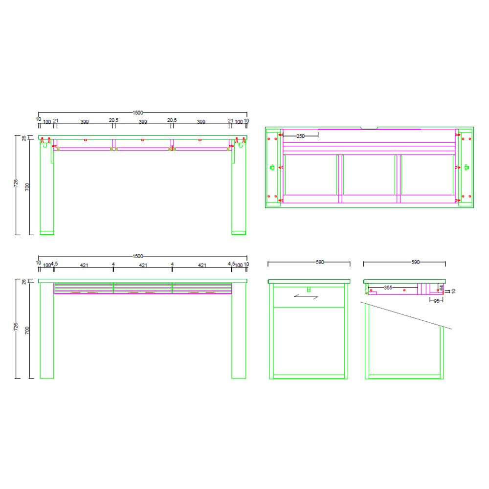 Gulf/ガルフ 格子デザインシリーズ デスク 幅150cm 内寸図(cm)