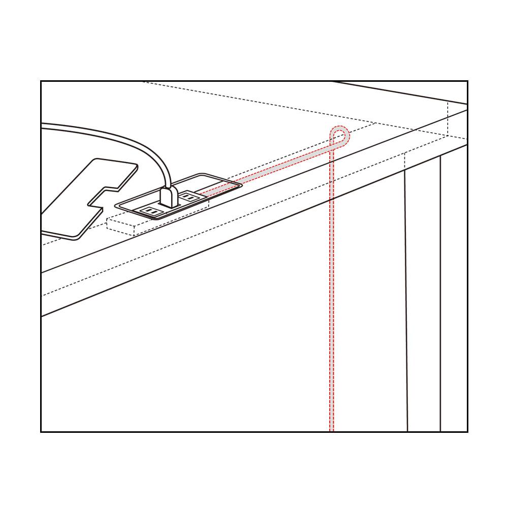 Brook(ブルック) ウッドデスクシリーズ デスク 幅180cm デスク背面からのイラスト コード類は、デスク天板奥のスペースに。