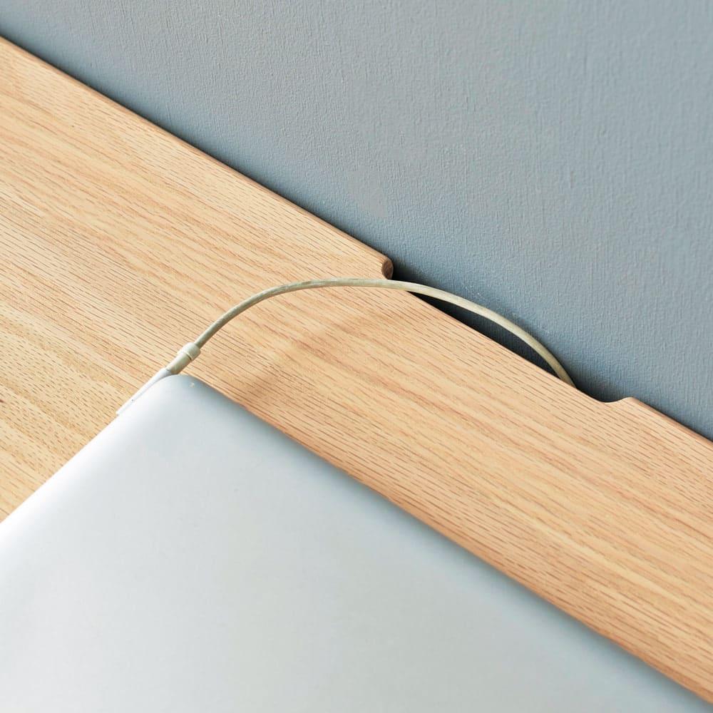 Vilhelm(ヴィルヘルム) ウェーブシリーズ デスク 幅120cm&チェア2点セット 天板の奥に、コード配線用のかきこみあり。