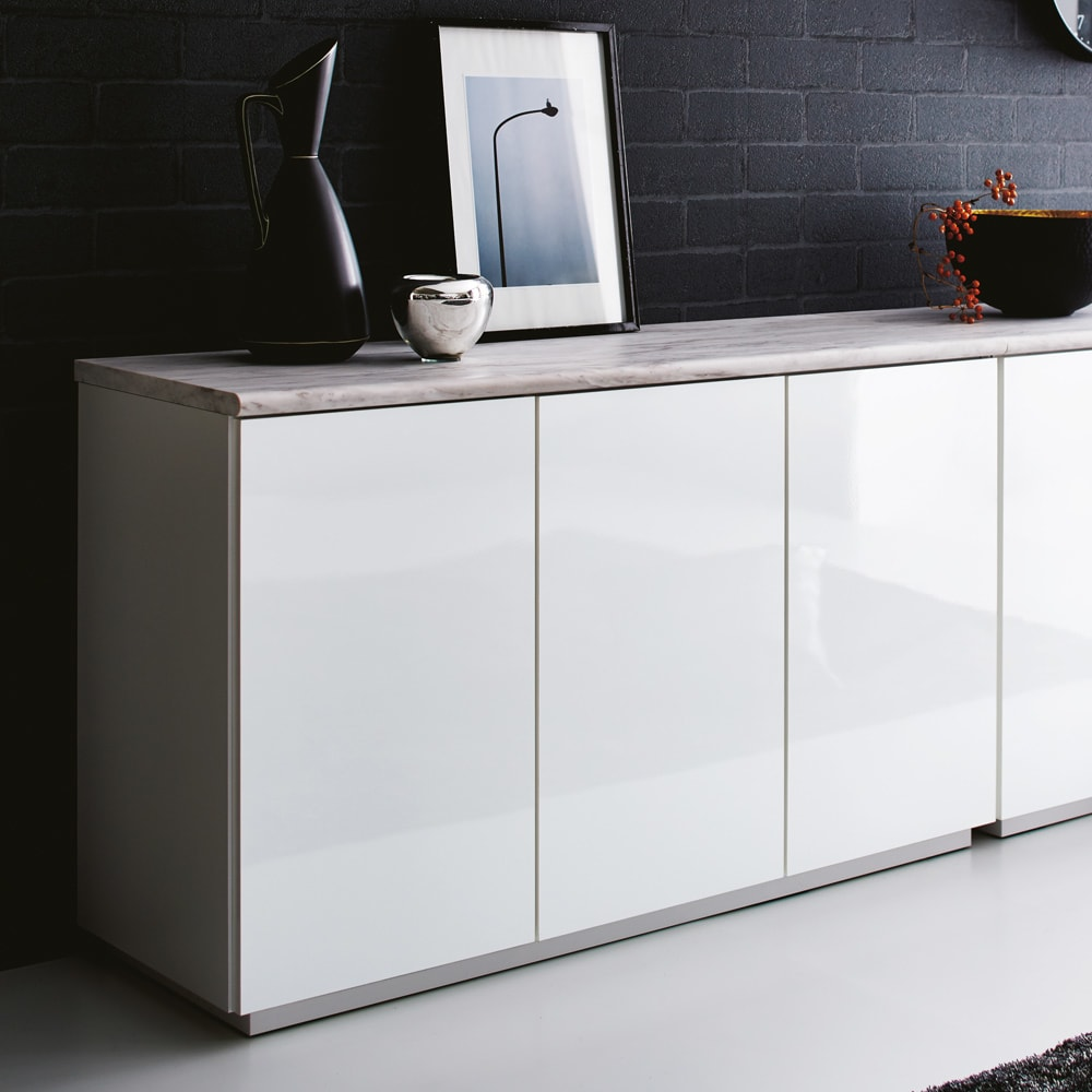 Canan/カナン 大理石調デスク 扉収納 幅121cm (ア)ホワイト(光沢) 前板の美しい光沢がデザインを際立たせます