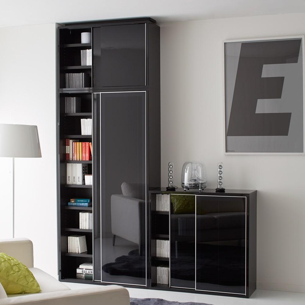 Evan(エヴァン) スライドシェルフ ハイタイプ本棚 幅90cm [コーディネート例]ブラック