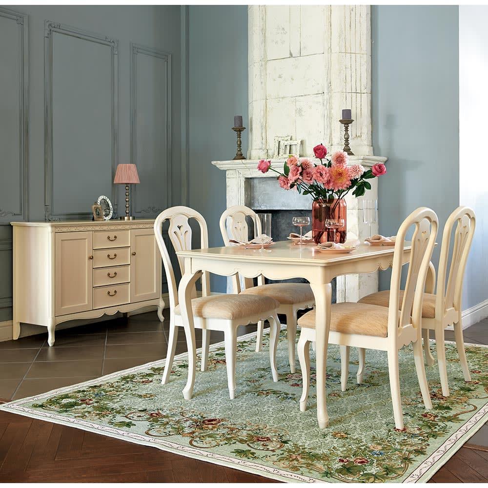 エレガントクラシックシリーズ ダイニングテーブル 幅180cm [色見本]ホワイトウォッシュ ※お届けはダイニングテーブル幅180cmタイプです。