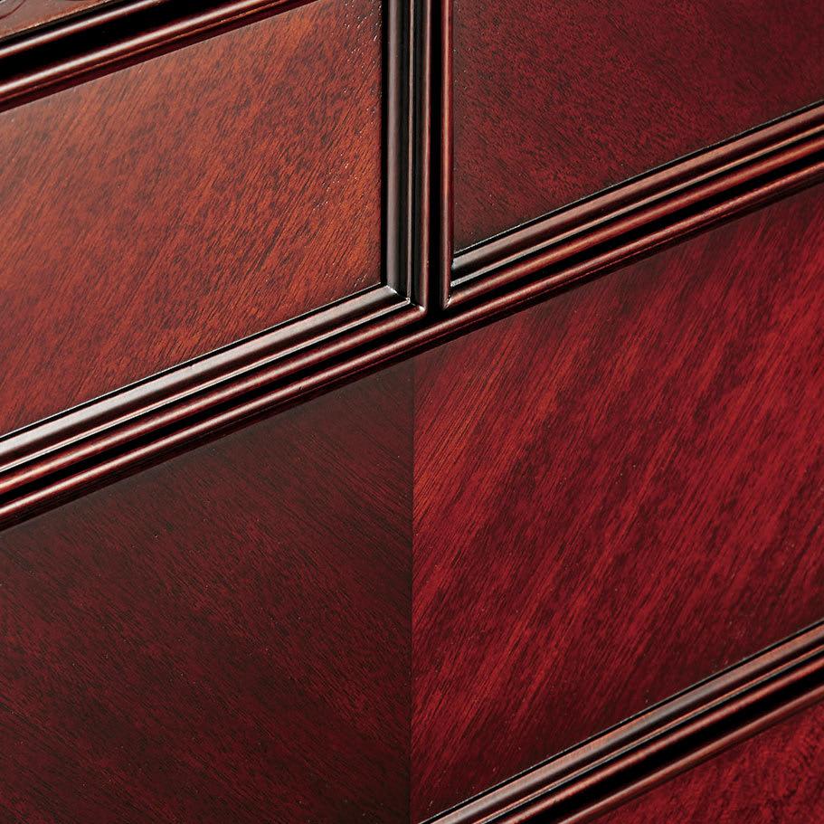 エレガントクラシックシリーズ サイドキャビネット 幅40cm高さ50cm ダークブラウン 矢羽根模様の美しい木目が優雅さを引き立てます。