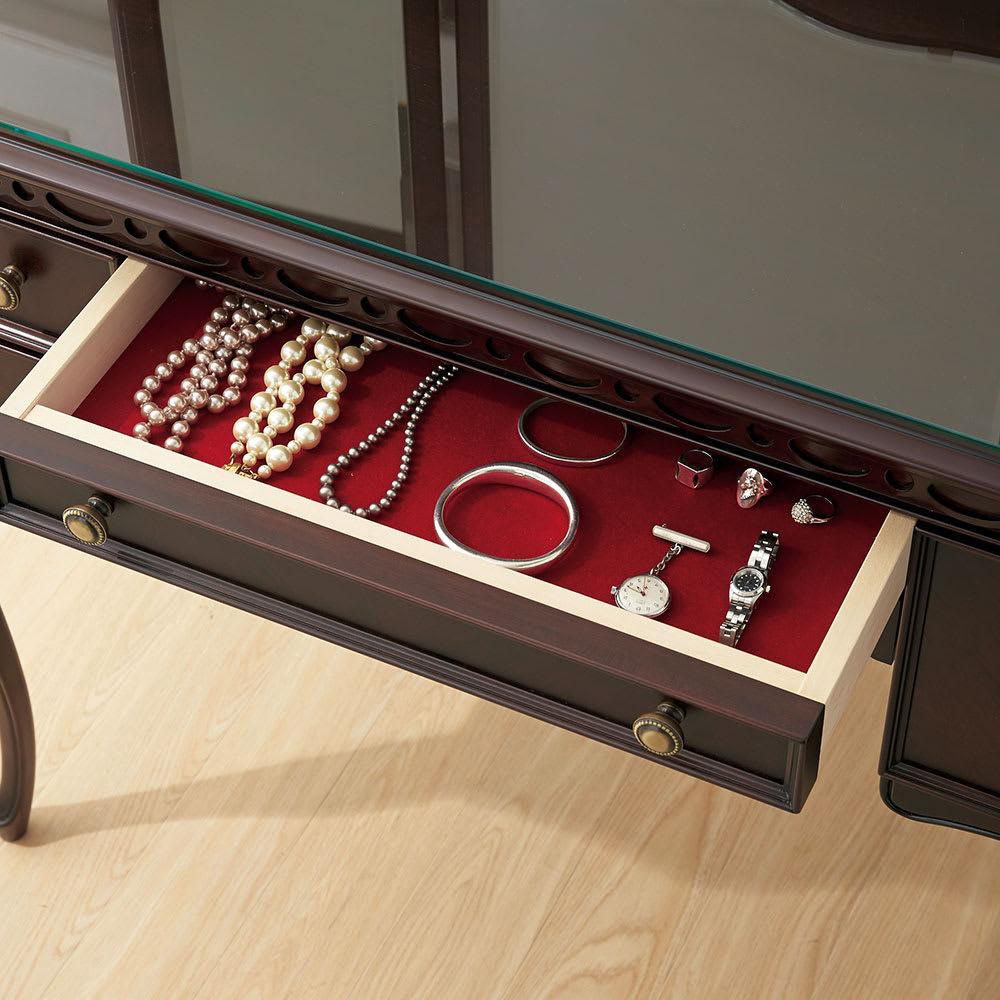 エレガントクラシックシリーズ ドレッサー(スツール付き) 幅90cm高さ137cm 中央の引き出しは布張りのジュエリーケース。