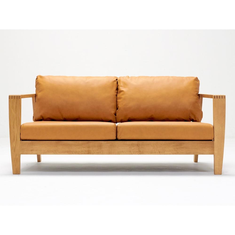 Green/グリーン オーク天然木 木フレームレザーソファ ラブ・2人掛けソファ 幅158cm 天然木フレームのソファはヴィンテージスタイルの家具やお部屋インテリアにマッチします