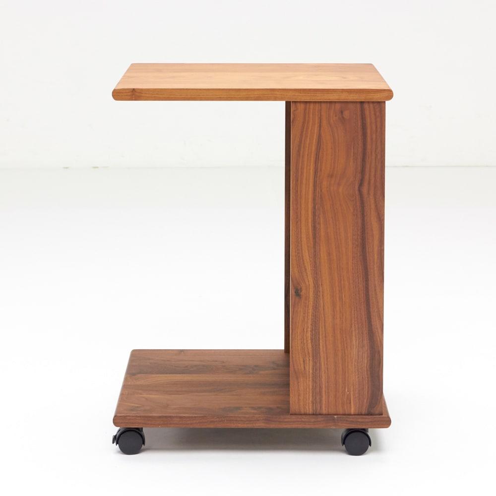 Green/グリーン ウォルナット天然木 ソファサイドワゴン・キャスター付きソファサイドテーブル