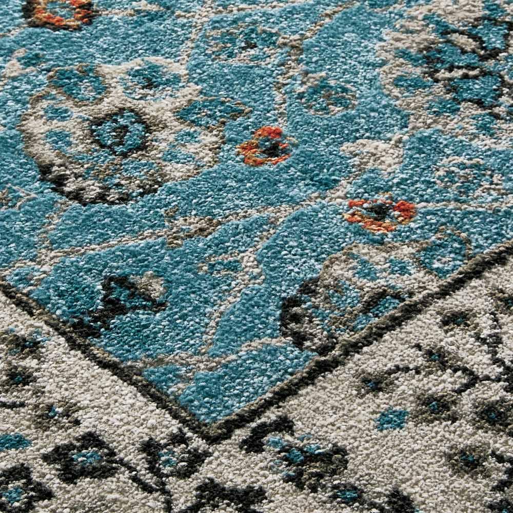 トルコ製 Lafarge/ラファージュ ウィルトン織ラグ [素材アップ]ライトブルー