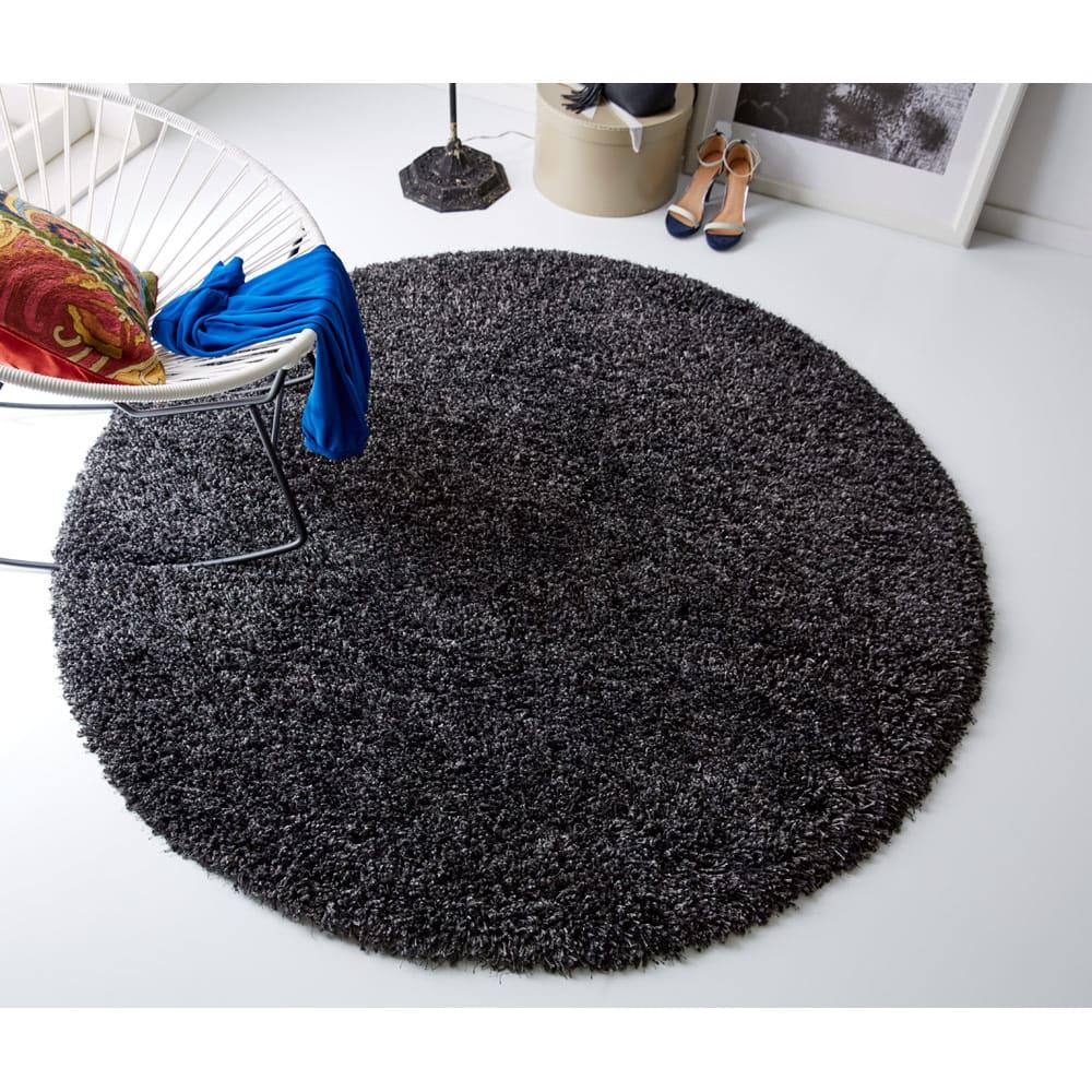 トルコ製 Marika/マリカ ミックスシャギーラグ 円形 約径160cm (ウ)ブラックミックス