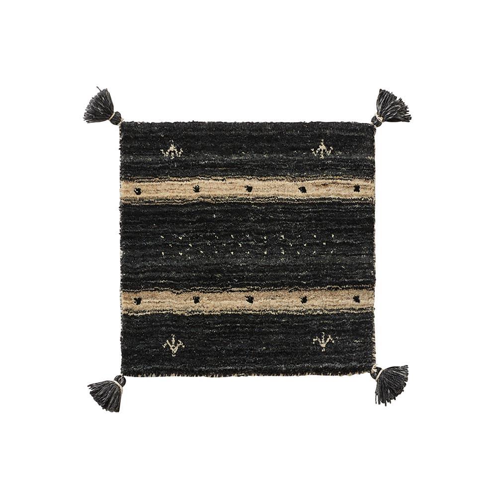 Gabbeh/ギャベ インド製 ウールマット チャコールブラック