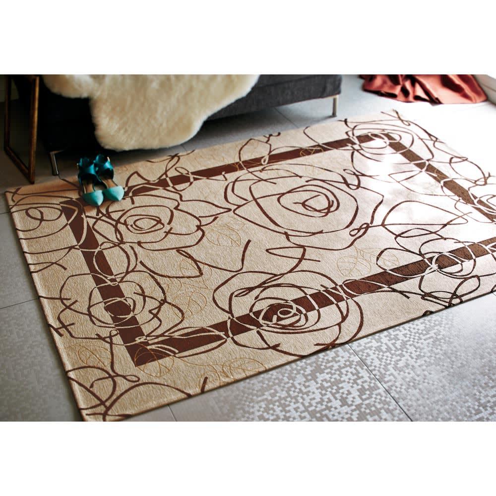 イタリア製 Camelia カメリア ゴブラン織キッチンマット [色見本]アイボリーブラウン ※写真はラグ140×200cmタイプです。