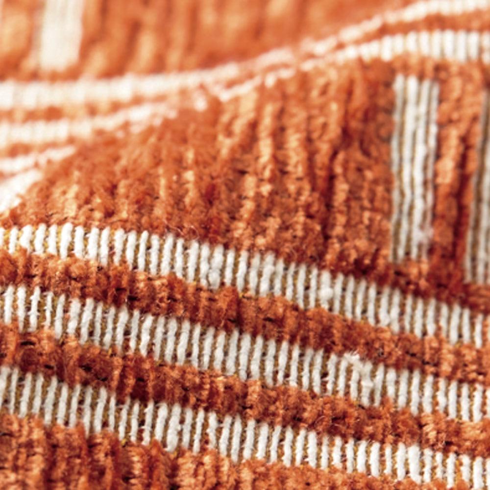 イタリア製マルチクロス Rita クッションカバー 【生地アップ】オレンジ シェニールと綿混の糸で織り上げた、心地よい肌触りの生地。