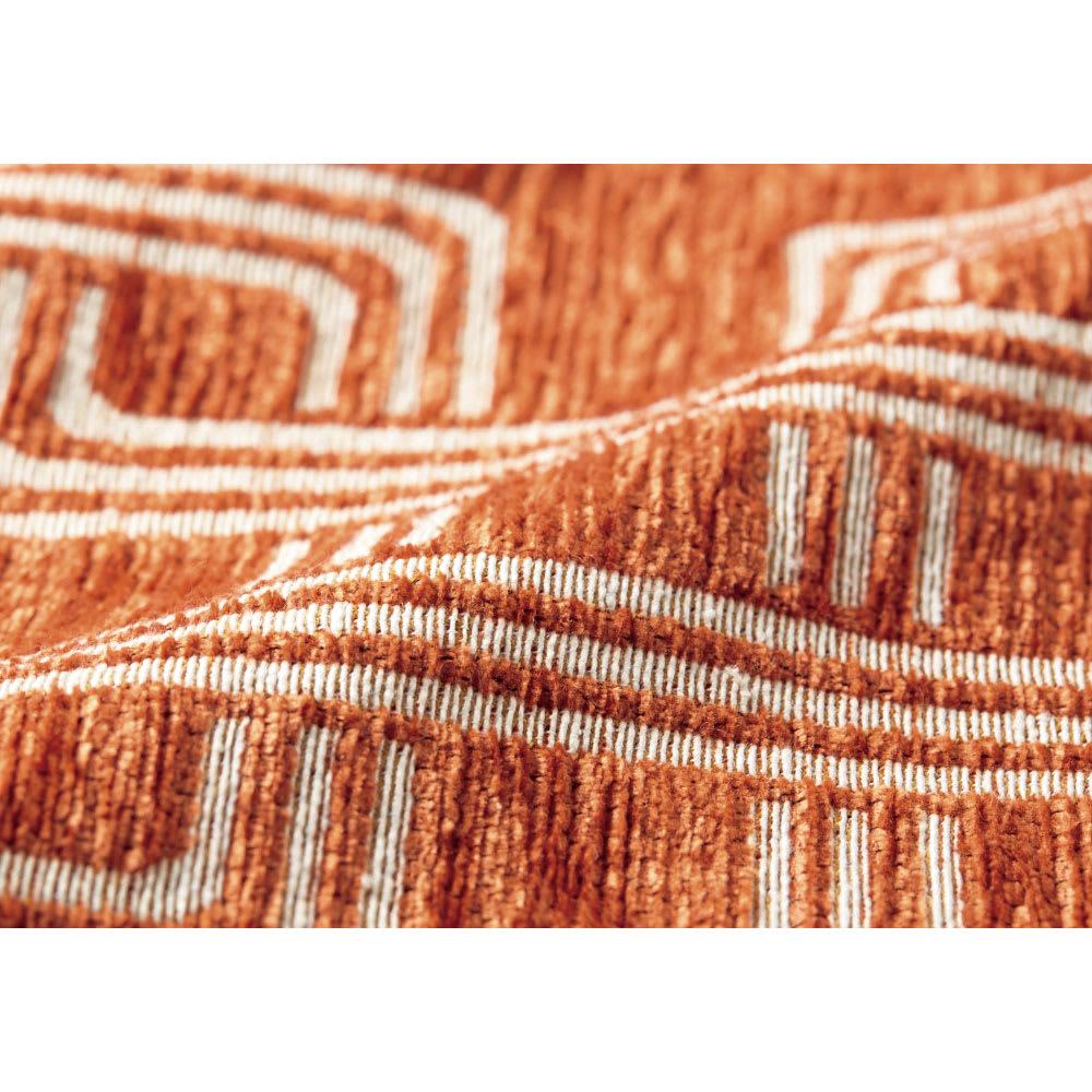 イタリア製マルチクロス Rita/リタ キッチンマット約65×120・180・240cm(3サイズ) [素材アップ]オレンジ シェニールと綿混の糸で織り上げた、心地よい肌触りの生地。