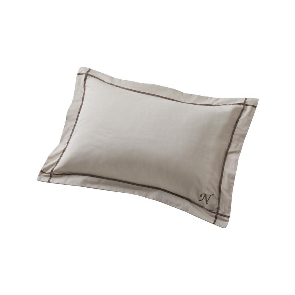ホテル仕様超長綿サテンカバーリング Ciel/シエル イニシャル刺繍入りピローケース 1枚 グレージュ