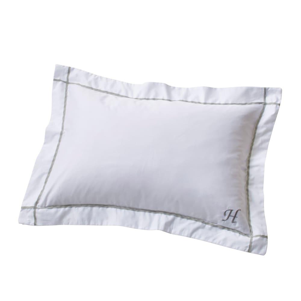 ホテル仕様超長綿サテンカバーリング Ciel/シエル イニシャル刺繍入りピローケース 1枚 ライトグレー