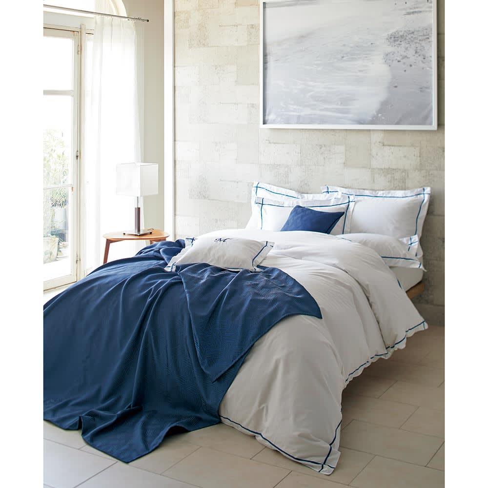 ホテル仕様超長綿サテンカバーリング Ciel/シエル 掛けカバー [コーディネート例]ブルー ※お届けは掛けカバーです。