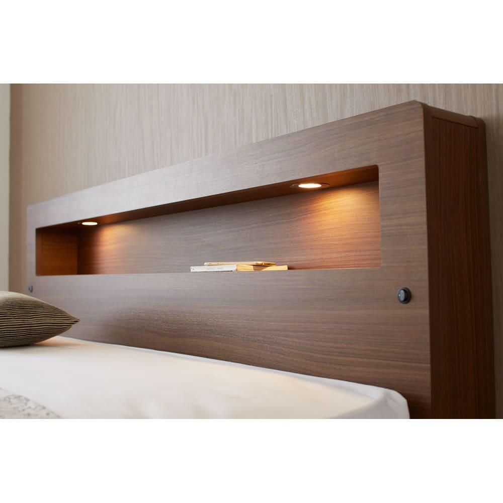 【配送料金込み 組立・設置サービス付き】SIMMONS(シモンズ) LED照明付き引き出し収納ベッド 5.5インチポケットコイルマットレス付き ヘッドボードのライト