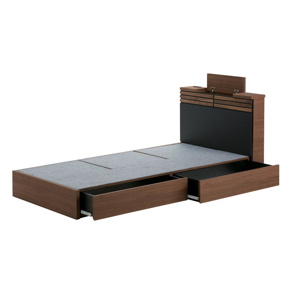 AlusStyle/アルススタイル ベッドシリーズ ベッドフレームのみ 引き出し2杯付きでたっぷり収納。下着や洋服などの整理に。