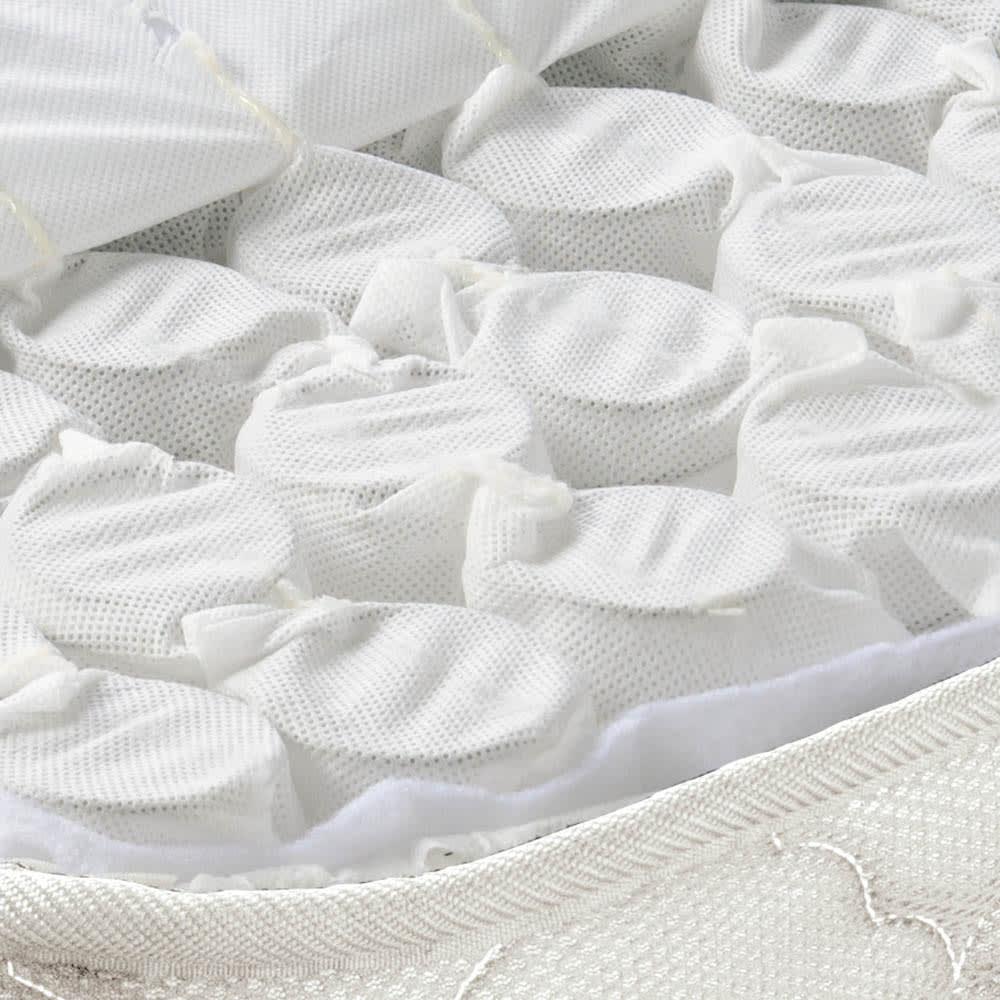 AlusStyle/アルススタイル ベッドシリーズ 圧縮ポケットコイルマットレス付き 敷き詰められたポケットコイルが体重を支え、包み込まれるような寝心地。