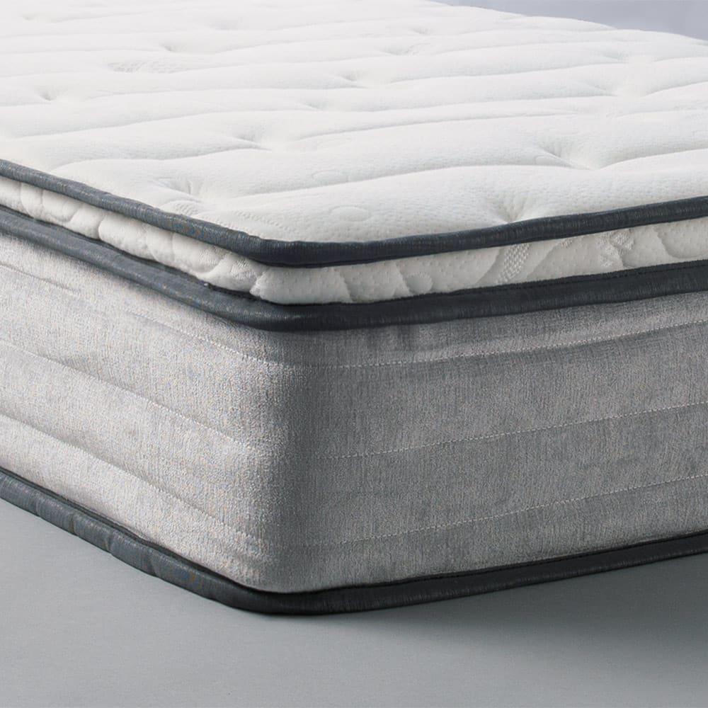 AlusStyle/アルススタイル ベッドシリーズ 国産ユーロトップポケットコイルマットレス付き マットレスの端までソフトな仕上がり。上部のウレタン層がボリューム感を生み、体を心地よくホールドします。