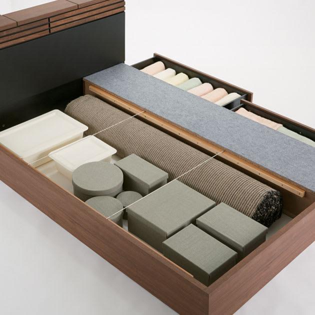 AlusStyle/アルススタイル ベッドシリーズ 国産ユーロトップポケットコイルマットレス付き 引き出し以外にも、床板下に収納が可能です。カーペットなどの長物も収納可能。