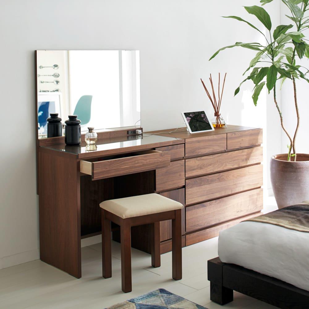 家具 収納 衣類収納 タンス チェスト 天然木 スライドワードローブ サイドチェスト H91104