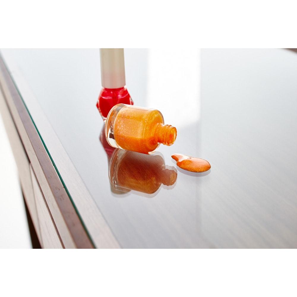 天然木 スライドワードローブ ドレッサー(椅子付き) 汚れをふき取りやすい4mm強化ガラス天板