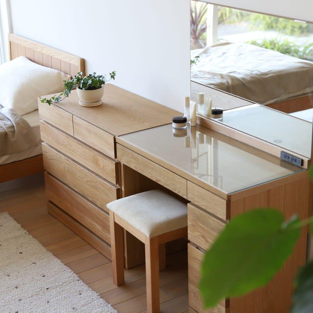 天然木 スライドワードローブ ドレッサー(椅子付き)