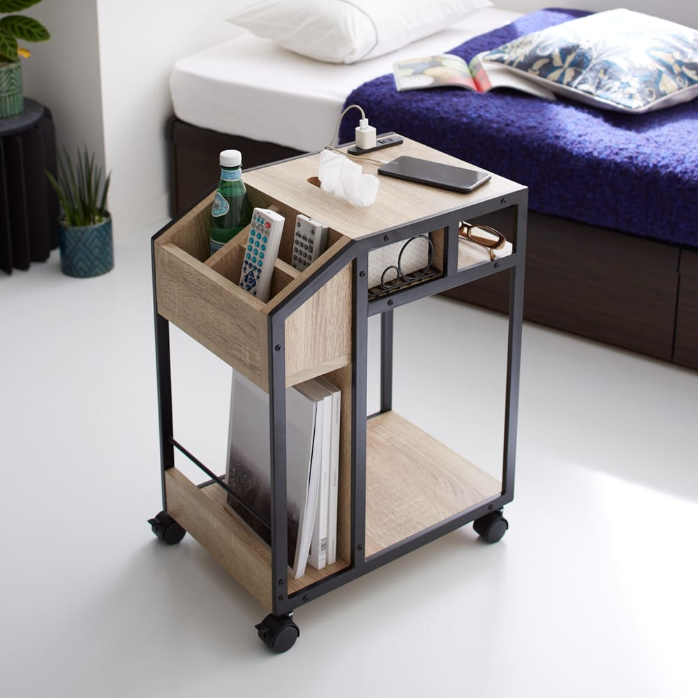 ベッドサイドマルチナイトテーブル ナチュラルブラウン