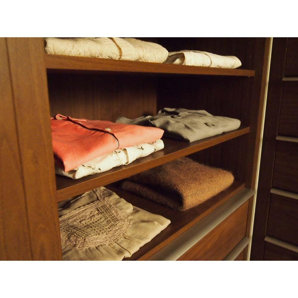 Antisala/アンティサラ  クローゼットユニット収納・ウォルナット 幅60cm オープン棚&チェスト 衣類をたたんで見せる収納