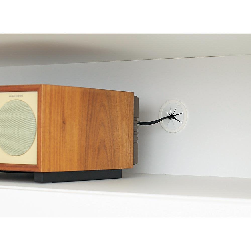 Dejlig/ダイリ棚付チェスト 幅90cm・4段(高さ116.5cm) 充電などに便利なコード穴付きで、オーディオや電話を設置したり、携帯電話の充電に便利。