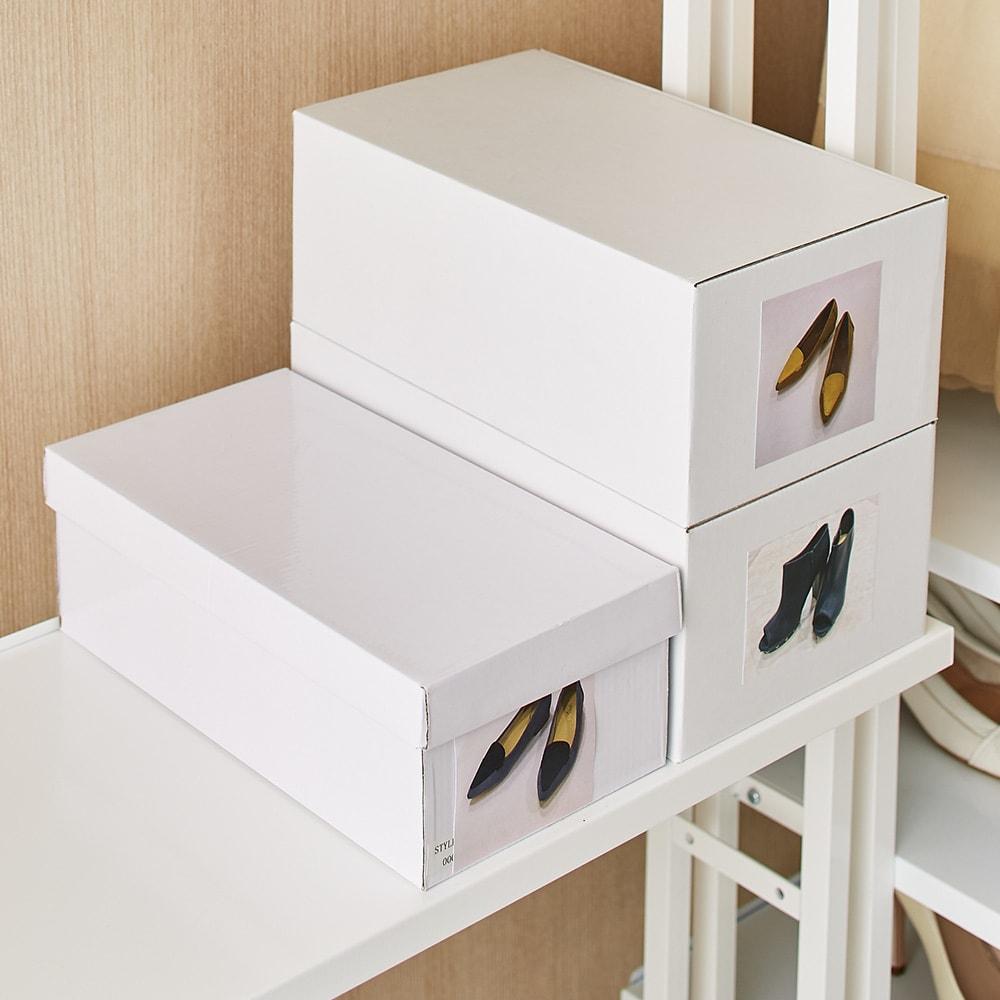 Struty(ストラティ) ラックシリーズ ハンガー2本&棚3段・幅100cm 棚板奥行30cmとスリムなのに靴箱がちょうど収まります。