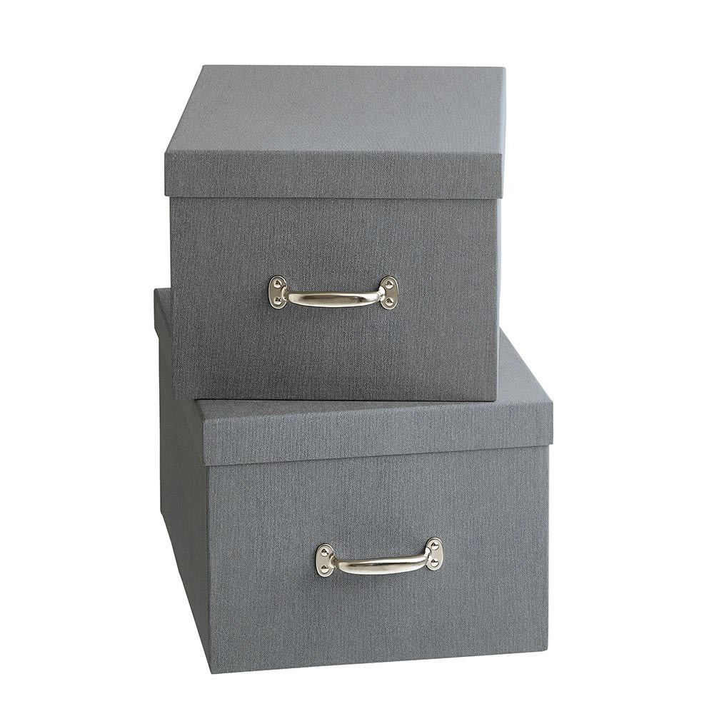 BIGSOBOX スウェーデン生まれの衣類収納ボックス TORE(2個組) (イ)グレー