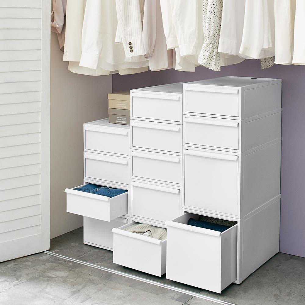 Carre/カレ ホワイトシステム衣類収納 クローゼット・押し入れ内でも大活躍