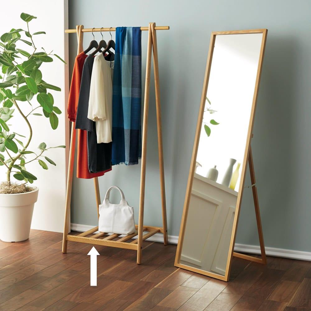 Incery(インサリー) 天然木製ハンガーラック 幅80cm ナチュラル 写真(左)は同シリーズのミラー幅44cmとのコーディネート例です。