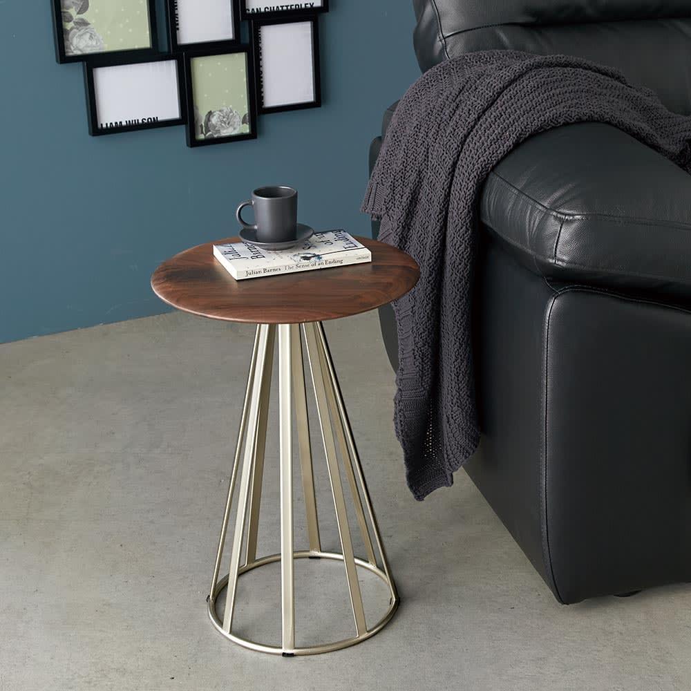 ウォルナット(ラディア サイドテーブル 径34cm 高さ49cm) ウォルナット 34 サイドテーブル・ナイトテーブル
